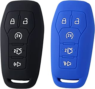2PCS XUHANG Sillicone key Skin Cover for Ford FUSION MUSTANG F150 LINCOLN MKZ MKC MKX Keyless Entry Smart Remote black blue