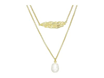 J.Crew Feather and Pearl Layering Necklace (Pearl) Necklace