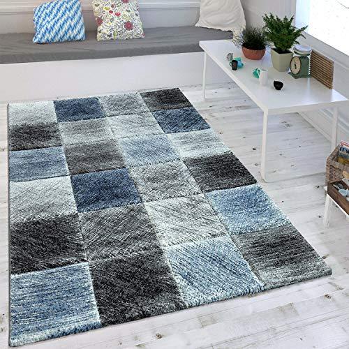 Wohnzimmer Teppich Indigo Blau Grau Trend Kariert Vintage Optik Maritimer Stil , Grösse:120x170 cm