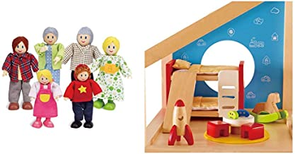 Hape Caucasian Doll Family Set for Kid's Dollhouses & Wooden Doll House Furniture Children's Room with Accessories
