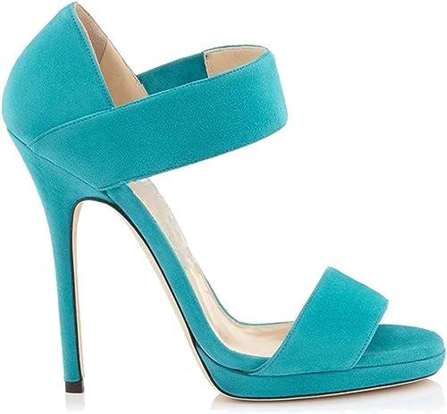 LYY.YY Sandales en Daim Sandales Stiletto Femmes Sandales Enveloppées Talon Chaussure à Bout Ouvert Chaussures Sandales à Talons Hauts (Hauteur du Talon  11-13Cm)