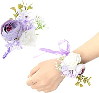 JaosWish 2PCS Flower Wrist Corsage Boutonniere Set Artificial Peony Rose Corsage Set Handmade Bride Wristband Men Boutonniere for Groom Wedding Party Prom Suit