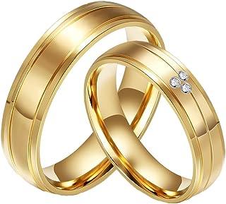 Bandas de Boda Anillo de Oro 18K del Acero Inoxidable del Diamante de la CZ Plateado de la Pareja