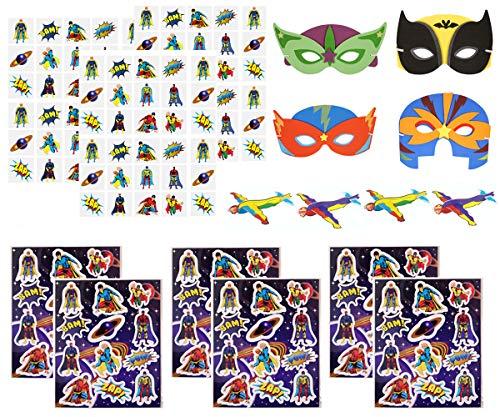 KINPARTY ® - Regalos de Superhéroe para niños – Pegatinas – Tatuajes – Aviones – Máscaras de Goma EVA - Para fiestas de cumpleaños, fiestas de Superhéroes, fiestas de verano, relleno de piñatas