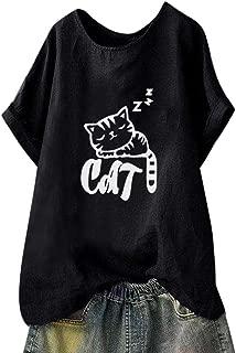 Womens Summer Cute Cat Print Tops Short Sleeve T-Shirts SADUORHAPPY Blouse Tee Tunic