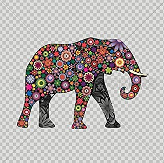 Decals Stickers Floral Elephant Elephas Room Feng Shui Tablet Laptop Waterproof Sports Bike 5 X 3,48 Inches Color