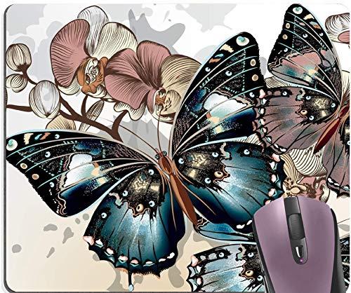 Cojín de ratón colorido de las flores de mariposas.cojines de ratón florales de la mariposa azul del vintage-10x12inch