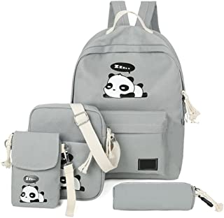 4Pcs Cute Panda Backpack Lightweight Casual Canvas Backpacks for Women