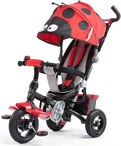 shuhong Kinder 1-6 Jahre Alt Kinderwagen Kinderwagen Kinder Dreirad Kinder 3 Rad fürrad 4 In1 Mit Abnehmbarer Sto ange, Putter Und Markise, Sto mpfendes Titanrad,rot