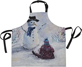 AHOMY Adjustable Apron with Pocket Watercolor Snowman Forest Extra Long Ties, 27.5 x 29