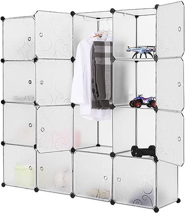 LANGRIA Penderie Modulable avec Portes 16 Cubes Garde-Robe de Rangement Portable 1 Tige Suspendue pour Vêtements Chaussures Jouets Accessoires Capacité par Cube 4.5 kg (Motif Bouclé Blanc Translucide)