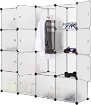 LANGRIA Modular Closet Organizer Plastic Cabinet, 16 Cube Wardrobe Cubby Shelving Storage Cubes Drawer Unit, DIY Modular Bookcase Closet System Cabinet with Doors for Clothes, Shoes, Toys, White