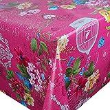 DecoHomeTextil Wachstuch Wachstischdecke Tischdecke Gartentischdecke Paradies Vogel Pink Breite & Länge wählbar 120 x 280 cm Eckig abwaschbar