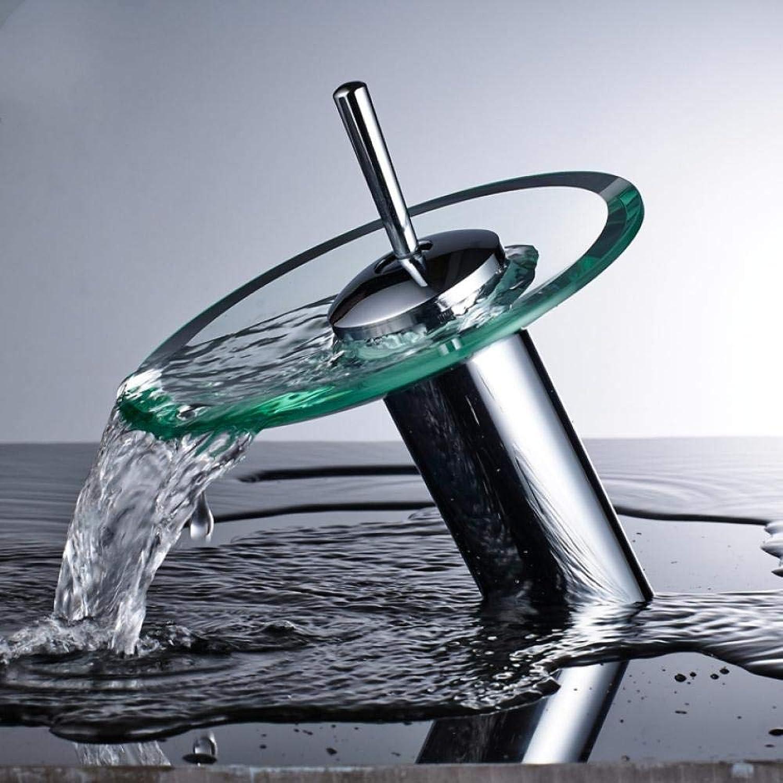 Glas Wasserfall Waschbecken Wasserhahn Einhand Einlochmontage Bad Warm- und Kaltmischer Toilette Waschbecken Waschhahn