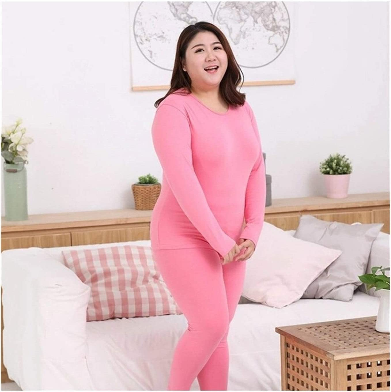 QWERBAM Women Thermal Clothing Thick Warm Underwear Suit Pure Cotton O Neck Seamless Plus Size 6XL Underwear for Winter (Color : Pink, Size : 4XL.)