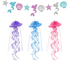 3 Pieces Jellyfish Paper Honeycomb Lanterns & 1 Glitter Banner-Mermaid Ocean Underwater Birthday Wedding Baby Showers Theme Party Decoration Supplies Jelly Fish Ornament Canopy