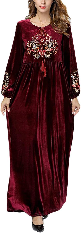 Embroidery O Neck Long Sleeve Aline Maxi Vintage Velvet Swing Women Dress