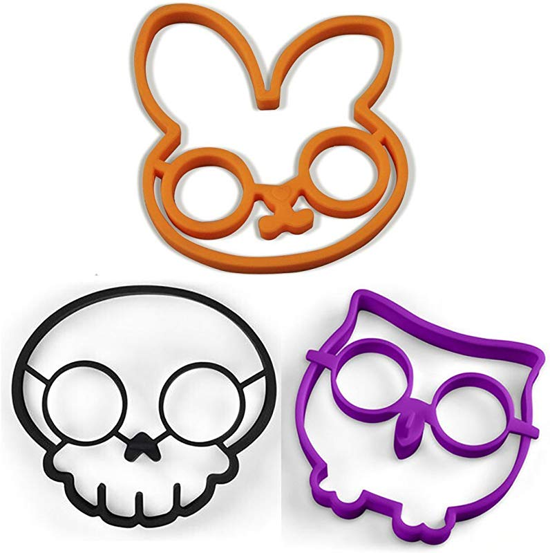 Tenta Kitchen Silicone Egg Ring Mold Pancake Mold Set Rabbit Owl And Skull Pack Of 3