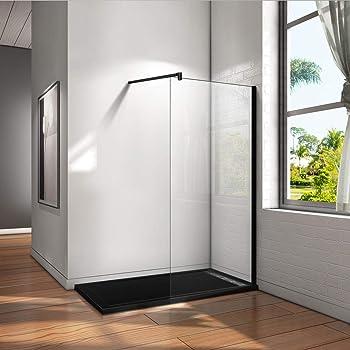 Mamparas de Ducha Pantalla Panel Fijo Perfil Negro Cristal Antical 8mm Barra 90cm - 80x200cm: Amazon.es: Bricolaje y herramientas