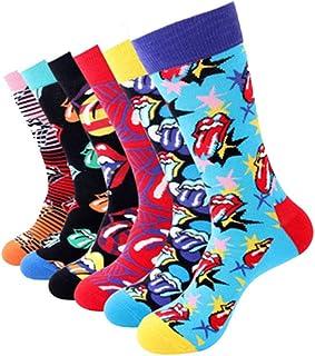 4-6 Packs Hombres/Mujeres Colorido algodón divertido ropa de vestir calcetines casuales
