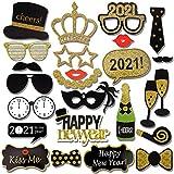 HOWAF 2021 Neujahr Fotorequisiten Fotoaccessoires (21Pcs), Silvester Photo Booth Props Verkleidung Mitbringsel Maske Party Zubehör für Erwachsene Kinder Silvester Deko 2021 Silvester Party Dekoration