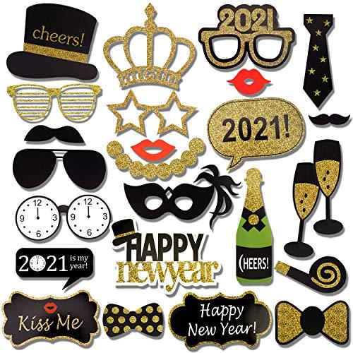 HOWAF 2021 Nouvel an Accessoires Photobooth Drôle DIY Kit Photo Booth Props déguisement Masquerade Chapeau Lunettes pour Adultes Enfants Nouvel an Anniversaire Mariage décoration faveur (25Pcs)