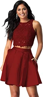 Women's Halter Beaded Homecoming Dress Short Two Piece Satin Lace Formal Gown