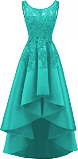 LOVING HOUSE Women's Beading Lace Wedding Party Dress Hi-lo Satin Prom Dress Evening Gowns Formal P019