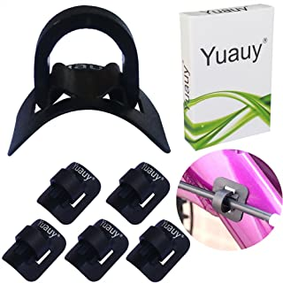 Yuauy 5 Sets (5 PCs Base + 5 PCs Clip) MTB Bike Cable Guide Brake Cable Shift Cable Derailleur Cable Base Guide Clip Fitting Line Tube Housing Durable Alloy