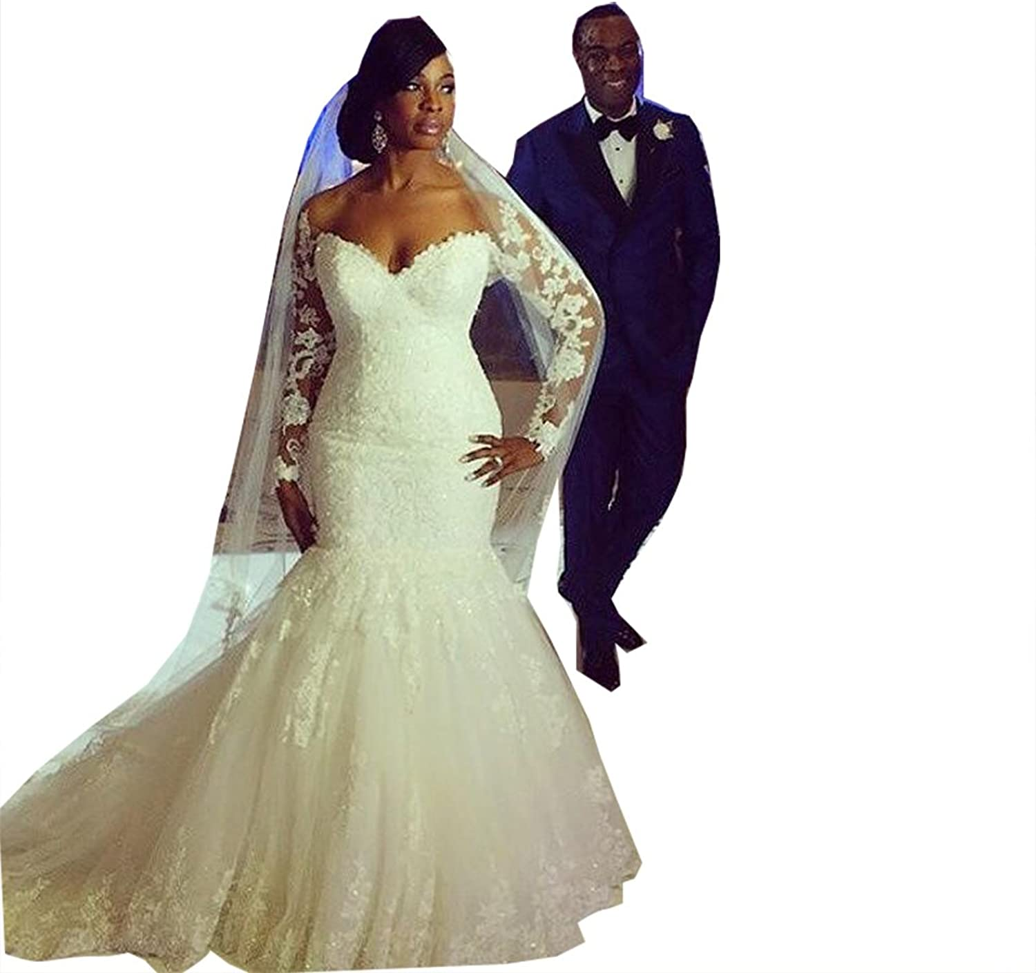 Fanciest Women's Lace Wedding Dresses with Long Sleeves Mermaid Bridal Gowns White