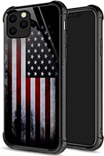 iPhone 11 Pro Max Case,9H Tempered Glass iPhone 11 Pro Max Cases Red Old America Flag for Men Boys, Pattern Design Shockproof Anti-Scratch Case for Apple iPhone 11 Pro Max Old Flag