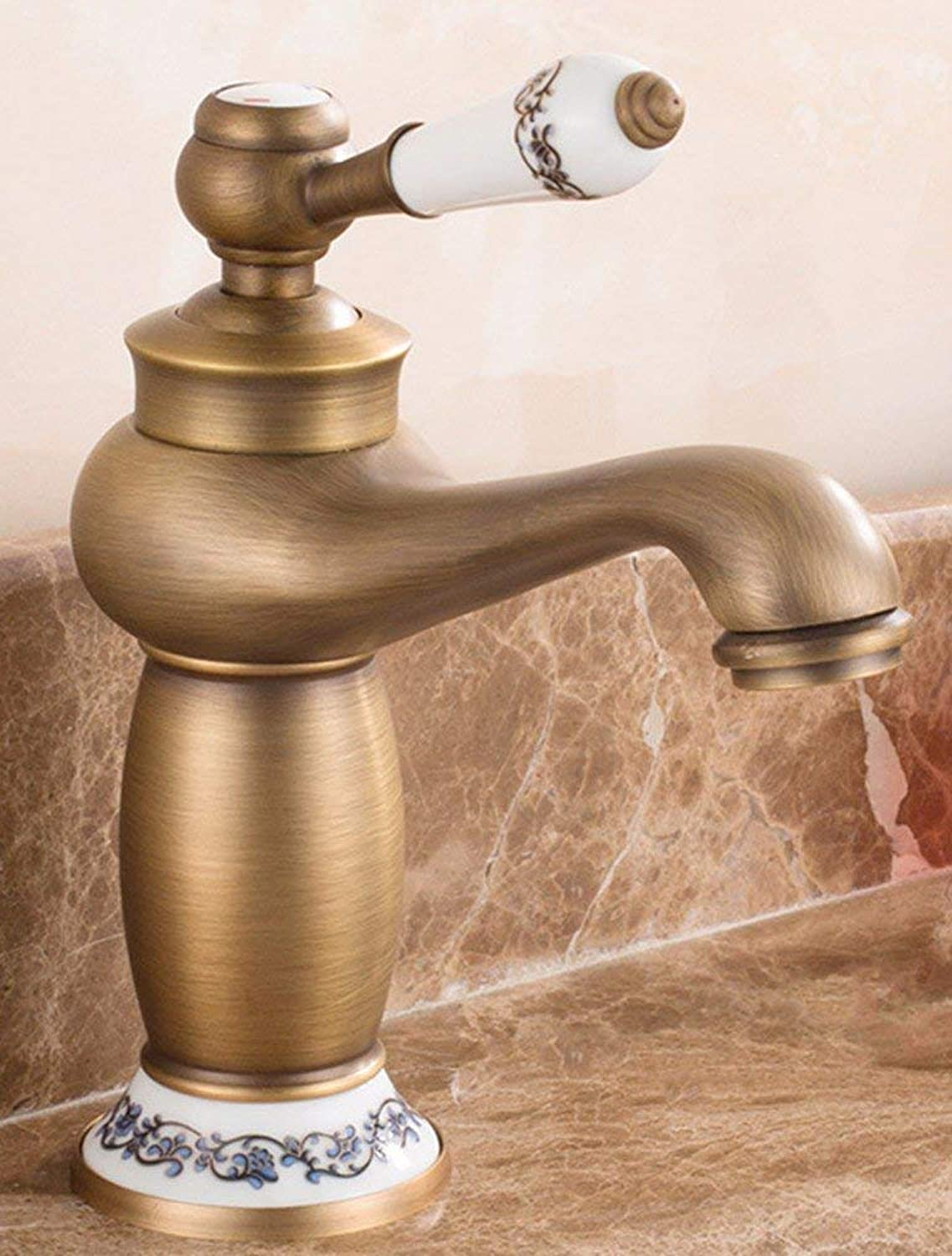 CFHJN HOME European style retro style and copper basin hot and cold Swivel Chrome Plated