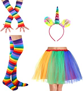 traderplus Rainbow Tutu Skirt with Unicorn Headband Striped Thigh High Socks and Long Gloves Party Accessory Set