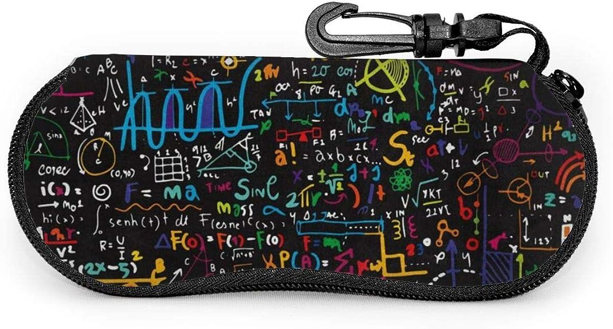 Educational Back To School Math Science Sunglasses Soft Case Ultra Light Neoprene Zipper Eyeglass Case With Key Chain