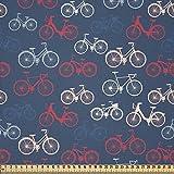 ABAKUHAUS Bicicleta Tela por Metro, Bocetos De Bicicletas En Azul, Microfibra Decorativa para Artes y Manualidades, 1M (230x100cm), Multicolor