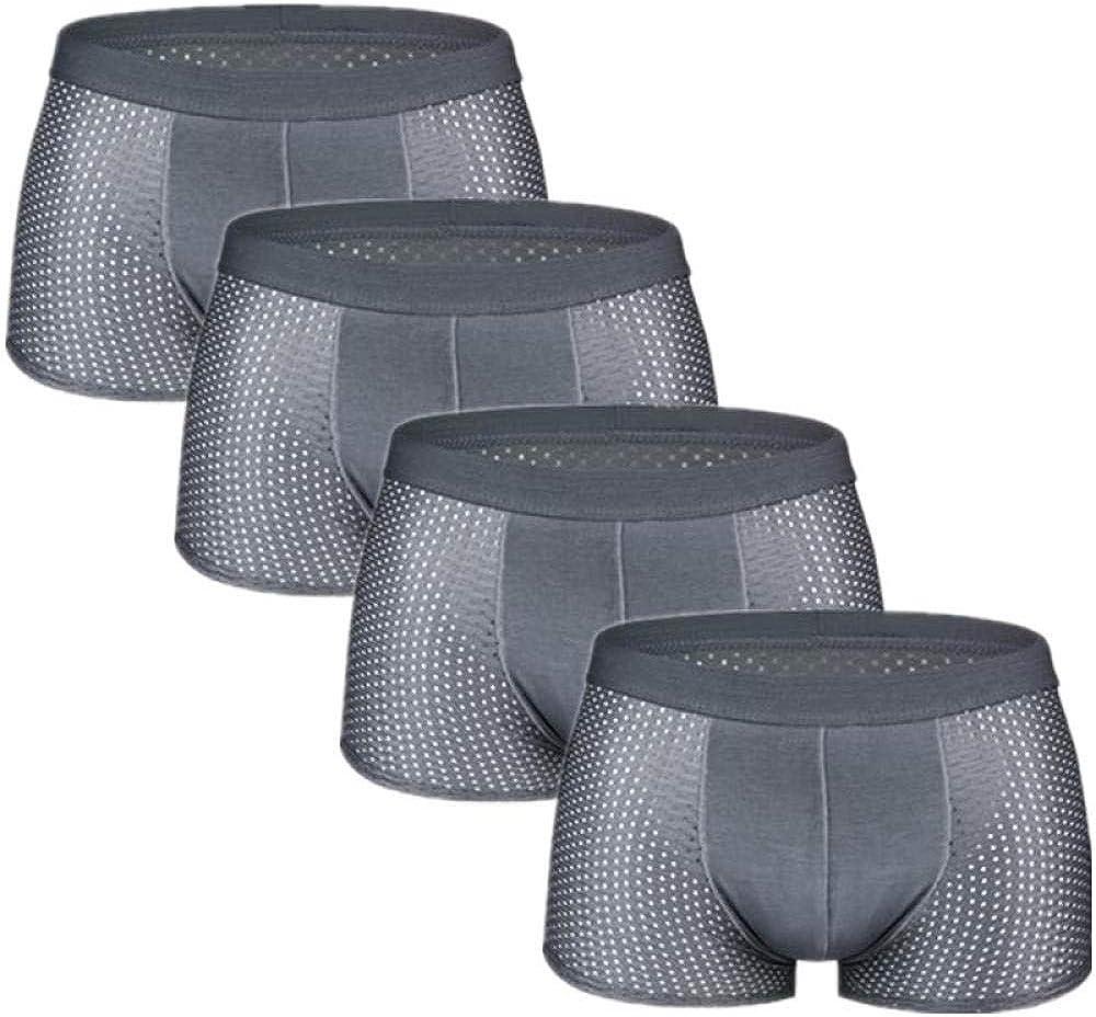 Underwear Men 4Pcs/Lot Underwear Men'S Panties Boxers Shorts Male Underpants For Man Mesh Sexy Homme Bamboo Ice Silk Nylon Large Size 6Xl 7Xl-Grey_Xxl