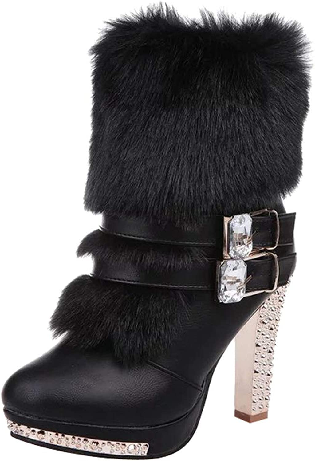 Zarbrina Womens Chunky Heel Fur Lined Ankle Boots Fashion Sexy Pointed Toe Rubber Sole Buckle Strap Zipper Up Winter Warm Party Dress Snow shoes
