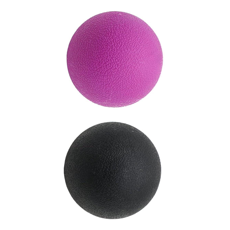 ハイキングに行く助けになる装置Kesoto 2個 マッサージボール ラクロスボール 背部 トリガ ポイント マッサージ 多色選べる - ブラックパープル