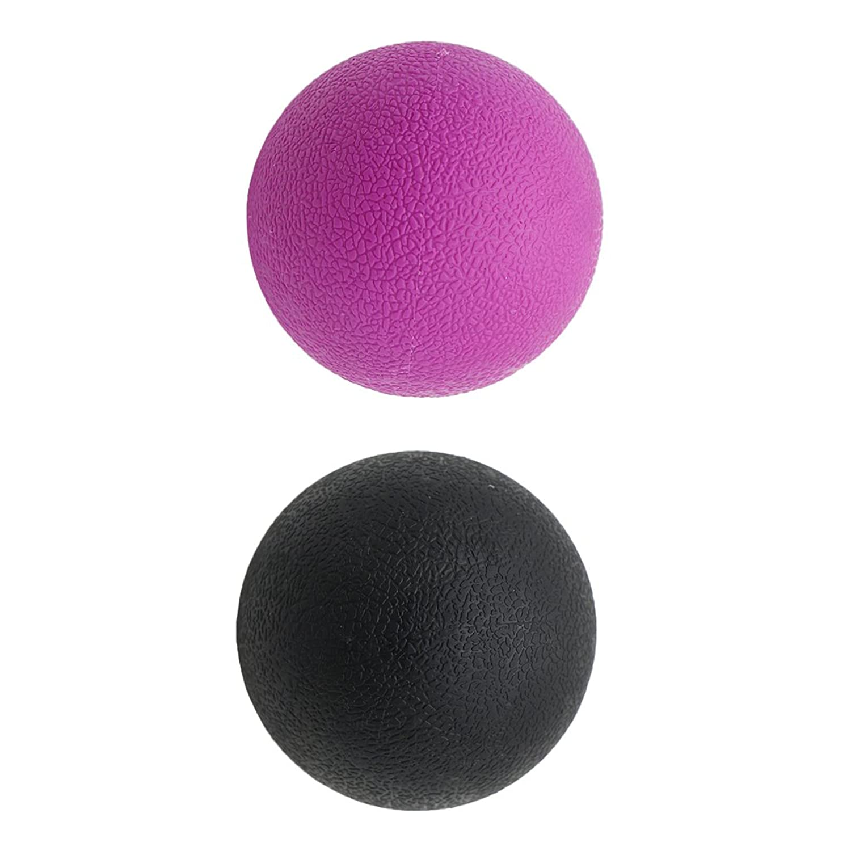 Kesoto 2個 マッサージボール ラクロスボール 背部 トリガ ポイント マッサージ 多色選べる - ブラックパープル