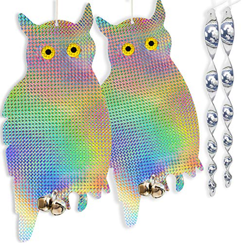 HOMESCAPE CREATIONS Owl Decoy Bird Repellent Control Scare Device - Holographic Reflective...