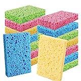Cleaning Scrub Colored Sponge,Non-Scratch Kitchen Cellulose Dishwashing Sponge,16Pack Biodegradable Natural Sponge