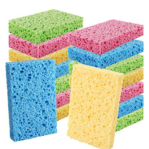 Cleaning Scrub Colored Sponge,Non-Scratch Kitchen Cellulose Dishwashing Sponge,16Pack Biodegradable Natural Sponge
