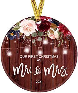 Our First Christmas as Mr & Mrs Ornament 2021 1st Year Married Newlyweds 3