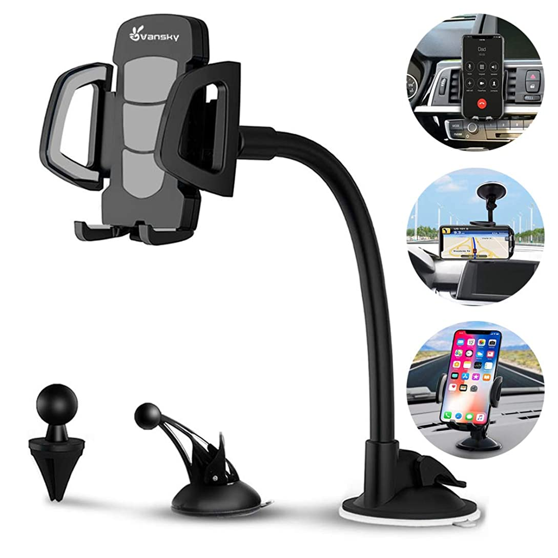 Car Phone Mount, Vansky 3-in-1 Universal Cell Phone Holder Car Air Vent Holder Dashboard Mount Windshield Mount for iPhone Xs Max R X 8 Plus 7 Plus 6S Samsung Galaxy S9 S8 Edge S7 S6 LG Sony and More sx7647447