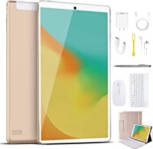 Tablet 10 Inch, Android 9.0 Pie Tablets with Wireless Keyboard Case and Mouse, 3GB RAM 64GB ROM, Quad Core, Google GMS Certified, IPS HD Display, 8MP Dual Camera, Dual 4G SIM, 8000mAh, WiFi - Gold