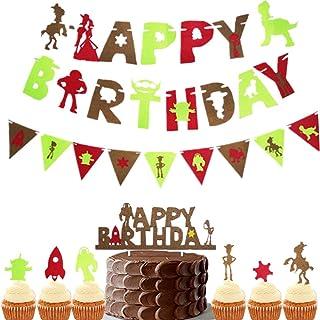 LaVenty 12 PCS Toys Birthday Decoration Toys Birthday Party Supplies Toys Birthday Cake Topper Toys Birthday Banner