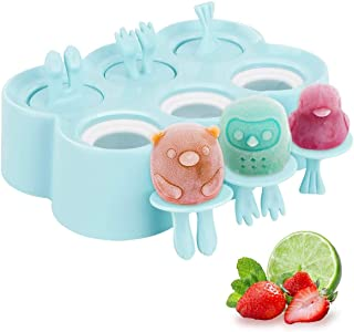 Popsicle Maker, Kids Cartoon Ice Cream Maker, 6 Piece Food-Grade Silicone mold with Sticks, Easy Release & Clean (Sky Blue)