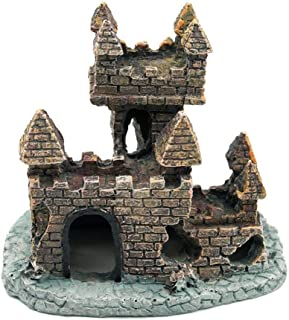Cratone Adornos de Acuario Artificiales decoración de Castillos pequeños, Resina para pecera, Mesa,