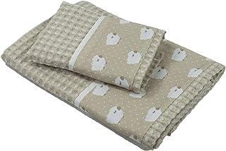 Tina Codazzo Baby Coppia di asciugamani neonato in cotone nido d'ape corda Pecorelle