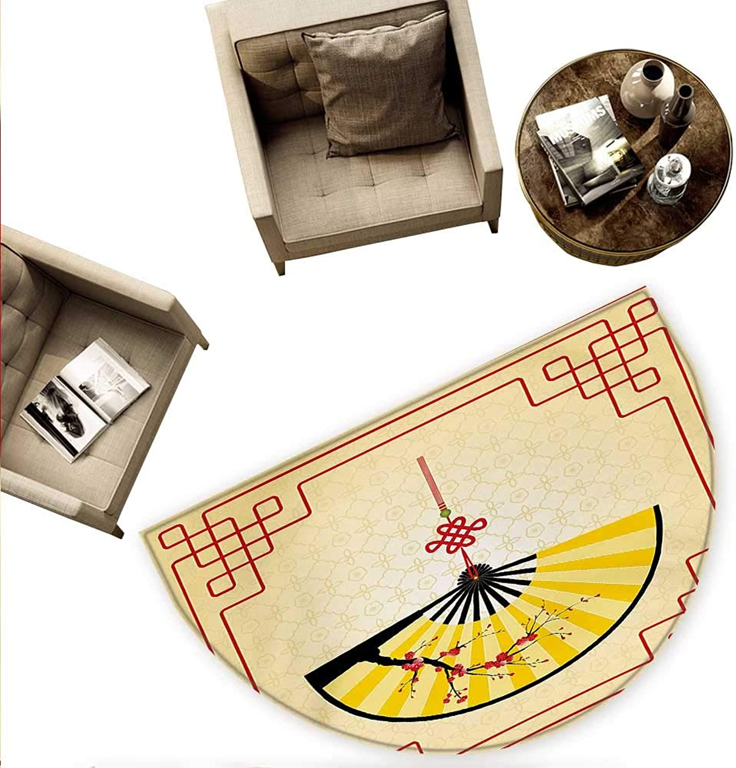 Asian Semicircle Doormat Japanese Culture Hand Fan with Cherry Blossom and Traditional Lines Design Halfmoon doormats H 70.8  xD 106.3  Sand Brown Yellow Red